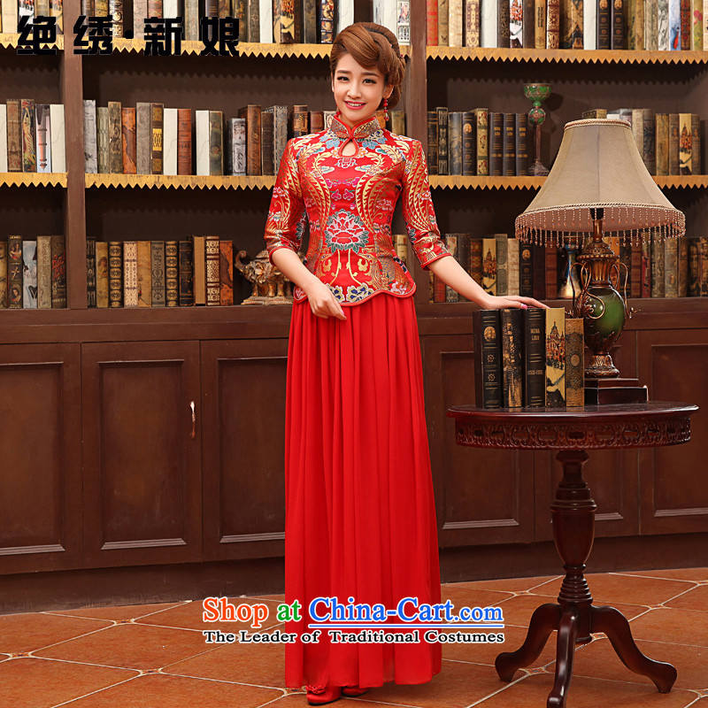No new bride embroidered red bride wedding dress improved Stylish retro long qipao bows services red XL Suzhou Shipment