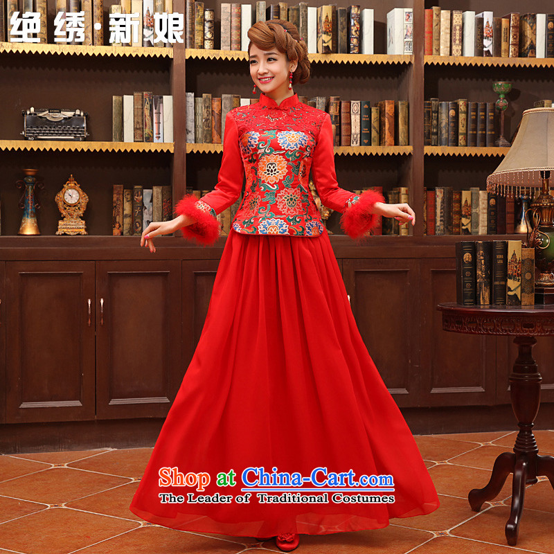No longer autumn bride embroidered warm thick cotton, plus auspicious red qipao marriage bows services red?S?Suzhou Shipment