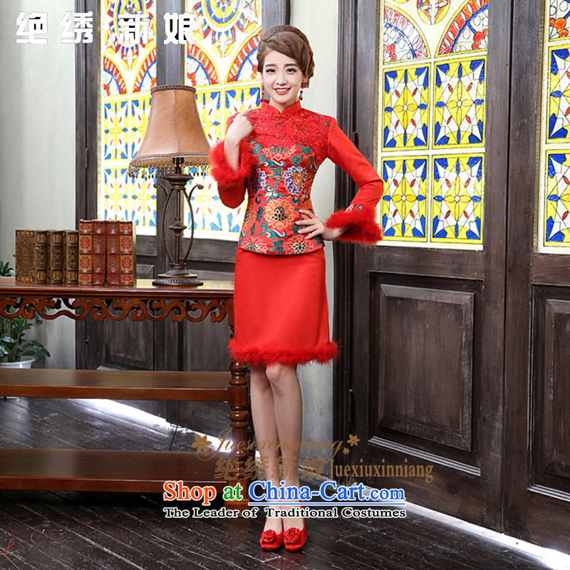 No new bride embroidered 2015 winter clothing to short of modern long-sleeved cotton bows dress winter folder marriage cheongsam red made does not allow