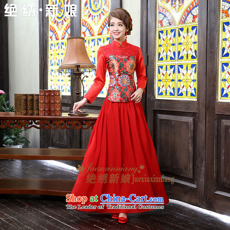 Wedding dress 2015 new long-sleeved clothing bride qipao bows of autumn and winter load unique design tailor-made red does not allow