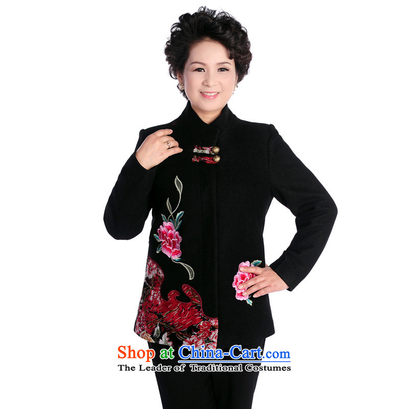 Mitis can the elderly in the women's mother load spring new stylish relaxd Tang dynasty cardigan jacket T-yu of the Tang dynasty collar black?4XL