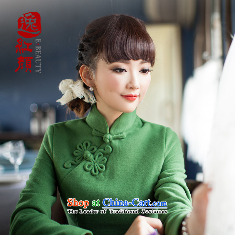A Pinwheel Without Wind fault if�15 yat of autumn and winter long-sleeved qipao new improved retro cheongsam dress everyday dress green燬