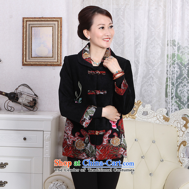 To Simitis Spring 2014 new products in women's older women lapel cardigan embroidered jacket Z dream Tang poetry Yim new pack of black XXXL Tang