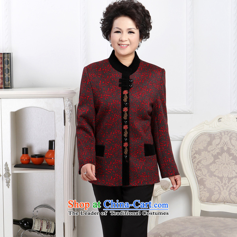 To Simitis燬pring 2014 new women's mother in older flip style boxed Cardigan Tang jackets Y-bong-yeon woolen coats Tang燲XXL map color