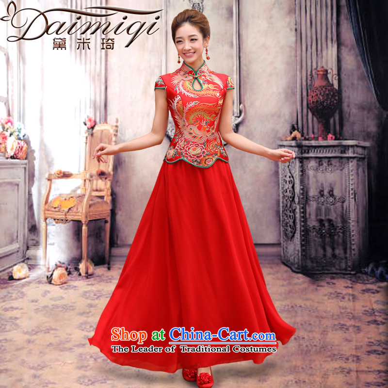 Doi m qi dragon robe red retro bridal dresses dresses improved marriage bows services wedding short-sleeved bride with two piece long cheongsam red�L