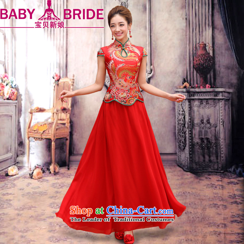 Baby bride dragon robe red retro bridal dresses dresses improved betrothal marriage short-sleeved wedding services bows bride long qipao two kits red燲L