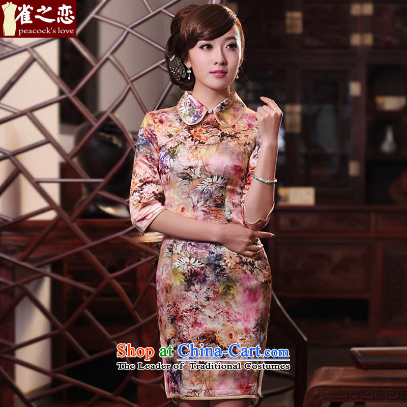 Love of birds Greek Dyeing燬pring 2015 new improved stylish dresses Silk Cheongsam QC425 SUIT燬