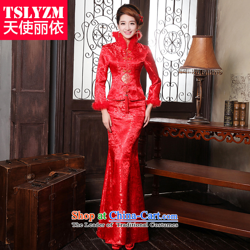 The bride qipao bows services tslyzm wedding dress of autumn and winter 2015 new thick long-sleeved Chinese style wedding services back door Tang dynasty winter clothing RED燤