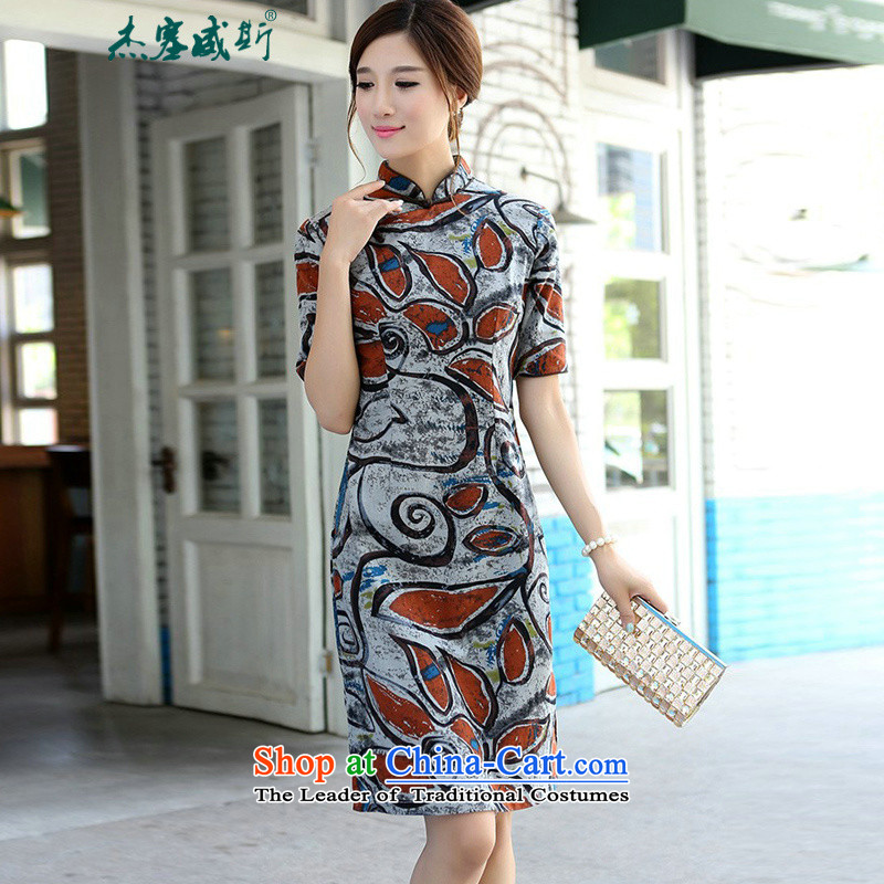 In Wisconsin,聽2015 Jie spring and summer retro women cotton linen collar manually detained in Sau San long-sleeved cheongsam dress dresses聽FX191聽orange graffiti Mock-neck聽S