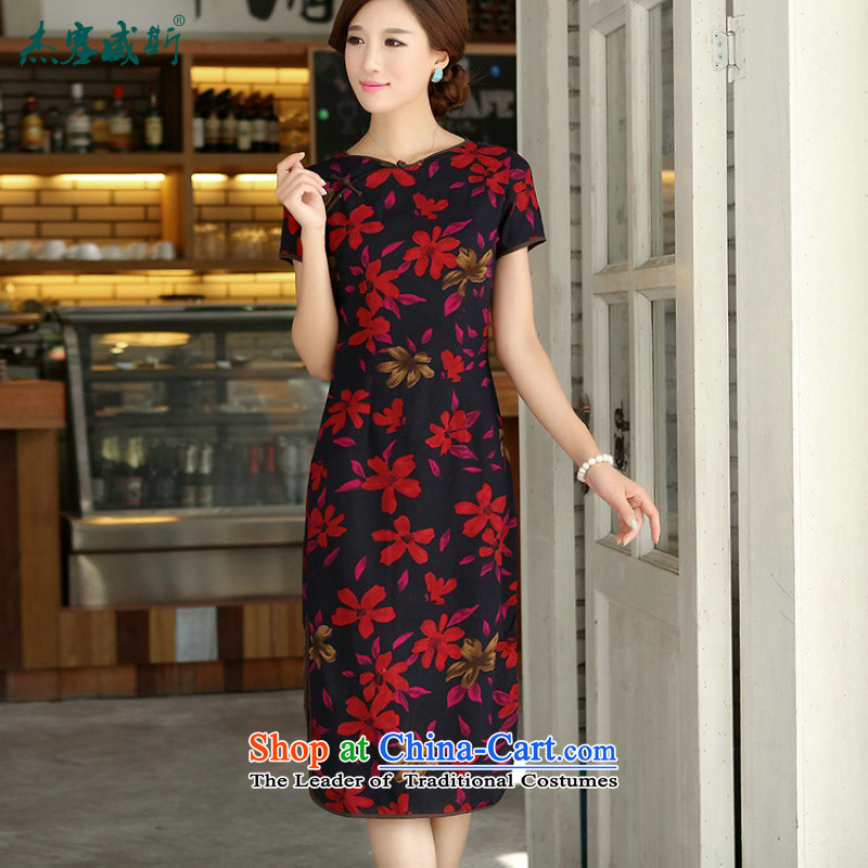 In Wisconsin,?2015 Jie spring and summer female retro cotton linen collar word Sau San exquisite manually. Long upscale cheongsam dress?MW486?Maple Leaf round-neck collar?XXL