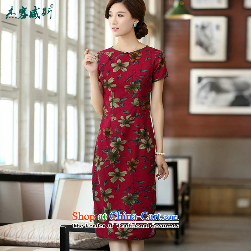 In Wisconsin,?2015 Jie spring and summer new products cotton linen neck tie in Sau San manually long cheongsam dress dresses?QF624?buckwheat flowers round-neck collar?M