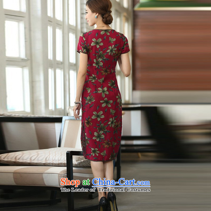 In Wisconsin, 2015 Jie spring and summer new products cotton linen neck tie in Sau San manually long cheongsam dress dresses QF624 buckwheat flowers round-neck collar M In Wisconsin, , , , Jie shopping on the Internet
