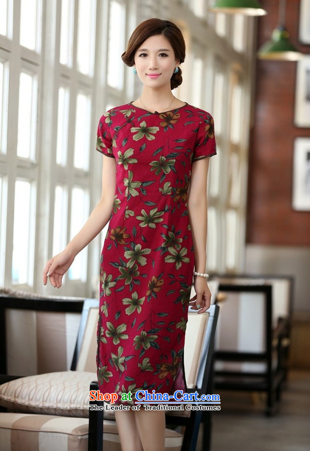 In Wisconsin, 2015 Jie spring and summer new products cotton linen neck tie in Sau San manually long cheongsam dress dresses QF624 buckwheat flowers round-neck collar M picture, prices, brand platters! The elections are supplied in the national character of distribution, so action, buy now enjoy more preferential! As soon as possible.