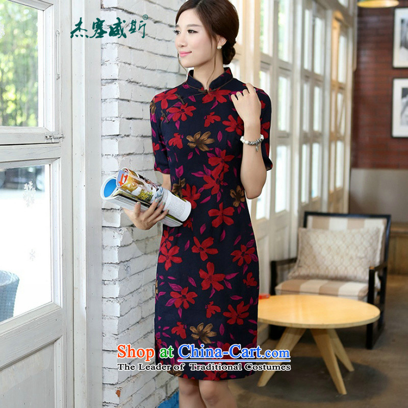 In Wisconsin,?2015 Jie spring and summer cotton linen collar in the medium to long term, of the Cuff manually detained qipao?QK647 Sau San?Maple Leaf collar?XXL