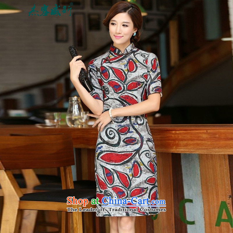 In Wisconsin,�2015 Jie spring and summer New China wind retro cotton linen collar in Sau San long in cuff upscale cheongsam dress dresses�YJ935�graffiti red collar�M