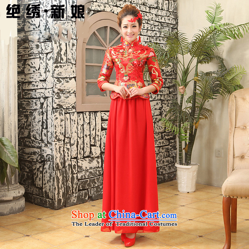 No�new 2015 bride embroidered red bride wedding dress improved Stylish retro long qipao bows service does not allow for tailor-made red