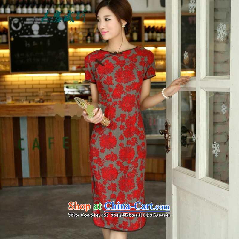 In Wisconsin,�2015 Jie spring and summer national long neck tie in Sau San manually long improved modern cheongsam dress�AW082�large Lai Ju round-neck collar�XXL