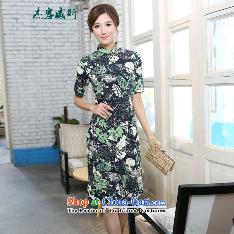 In Wisconsin,�15 Jie spring and summer female cotton linen collar in the flowers and leaves the cuff is manually long upscale cheongsam dress燫I630 dresses in the燤ood for Love collar燲L