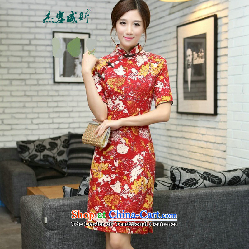 In Wisconsin,?2015 Jie spring and summer new products in China Wind/linen in long hand tie in cuff women cheongsam dress?UQ769?Hong Feng Mock-neck?S