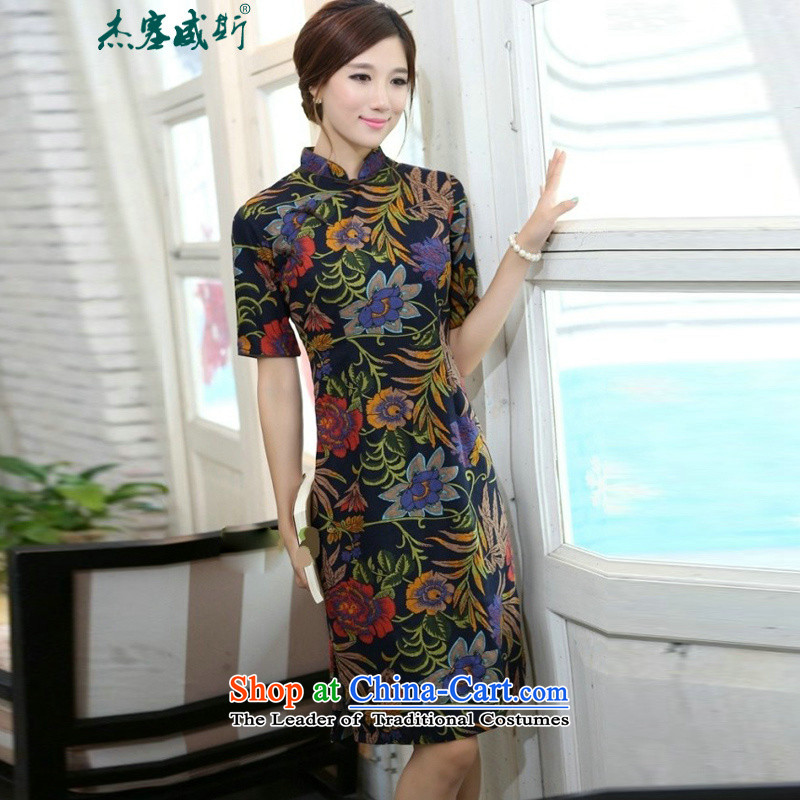 In Wisconsin,聽2015 Jie spring and summer female China wind in the linen collar lotus long-sleeved qipao is manually dresses聽OA505聽Lotus Mock-neck聽XXL