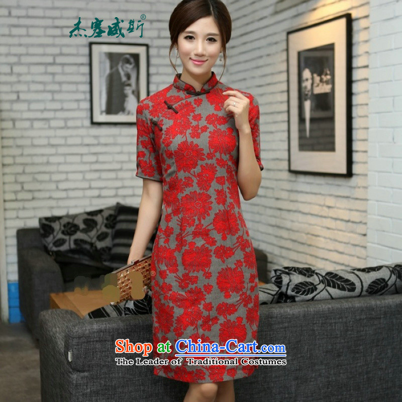 In Wisconsin,�15 Jie spring and summer China wind in red floral_linen in long hand tie in cuff cheongsam dress燦H528爈arge Lai Ju Mock-neck燬