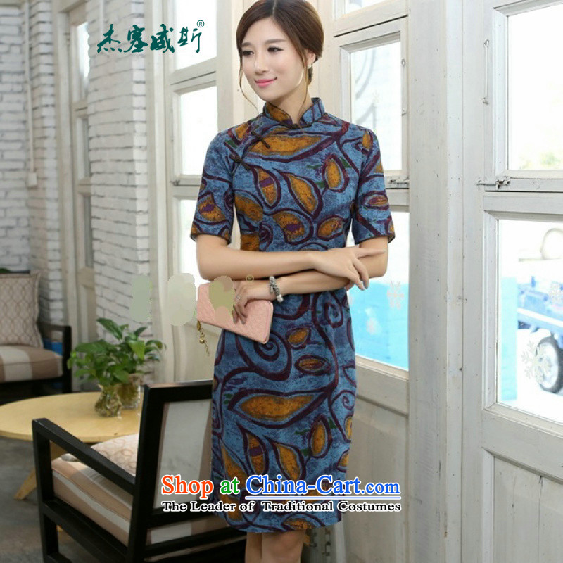 In Wisconsin,聽2015 Jie spring and summer China wind-cotton linen collar in the cuff is manually long cheongsam dress dresses聽BK046聽graffiti blue collar聽L