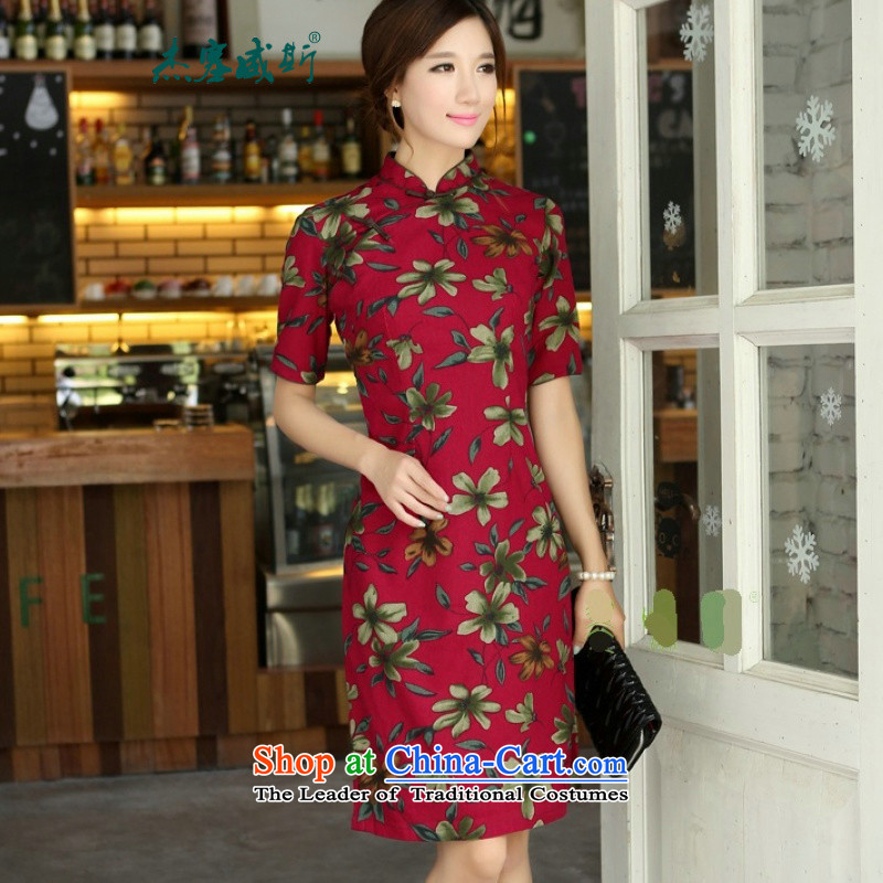 In Wisconsin,聽2015 Jie spring and summer China wind-cotton linen collar Buckwheat Flowers in the cuff is manually long cheongsam dress dresses聽VP851聽buckwheat flowers Mock-neck聽XXL