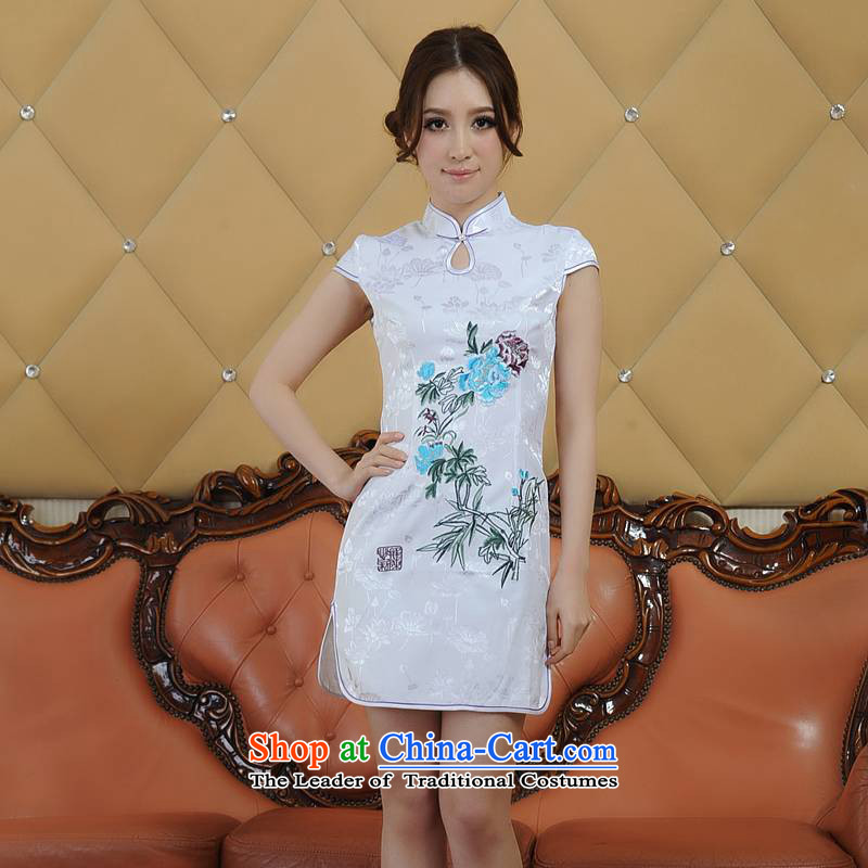 Addis Ababa poetry vidy summer Ms. new products refined embroidery retro short-sleeved dresses qipao Q06886 White?XL