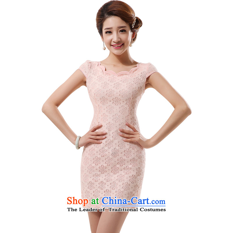 The land of the 2014 summer morning new improved Stylish retro short of qipao lace daily pink white meat pink 4284燬