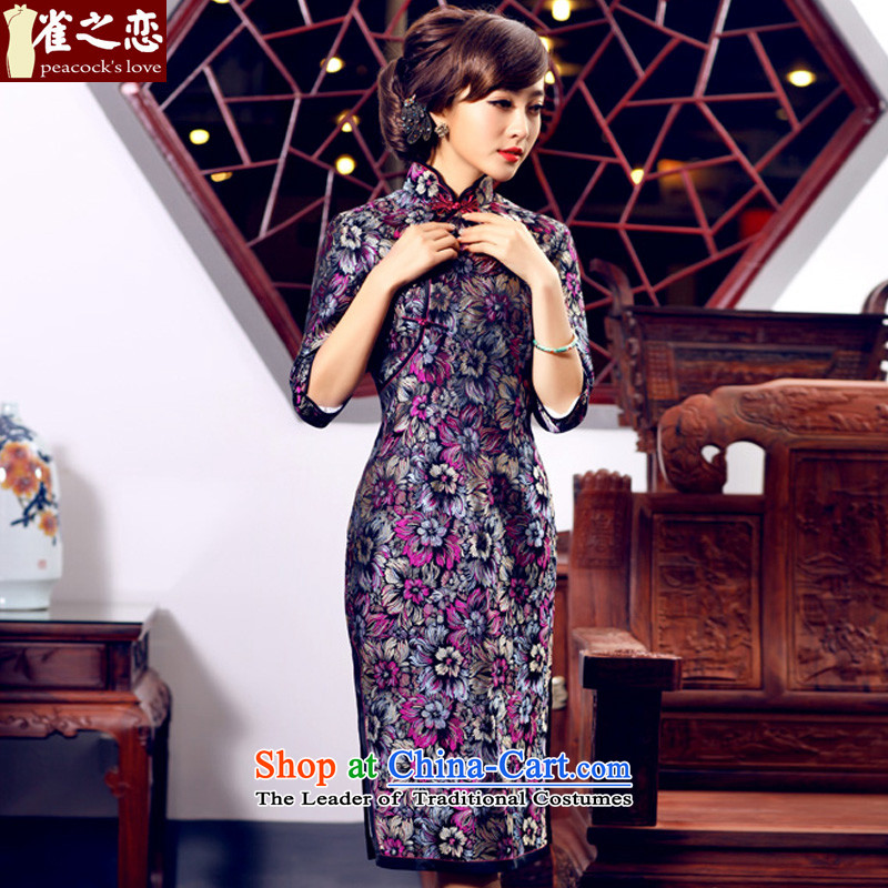 Love of birds North-south warm?spring 2015 new seven-sleeved jacquard brocade coverlets long qipao QC432 figure?S
