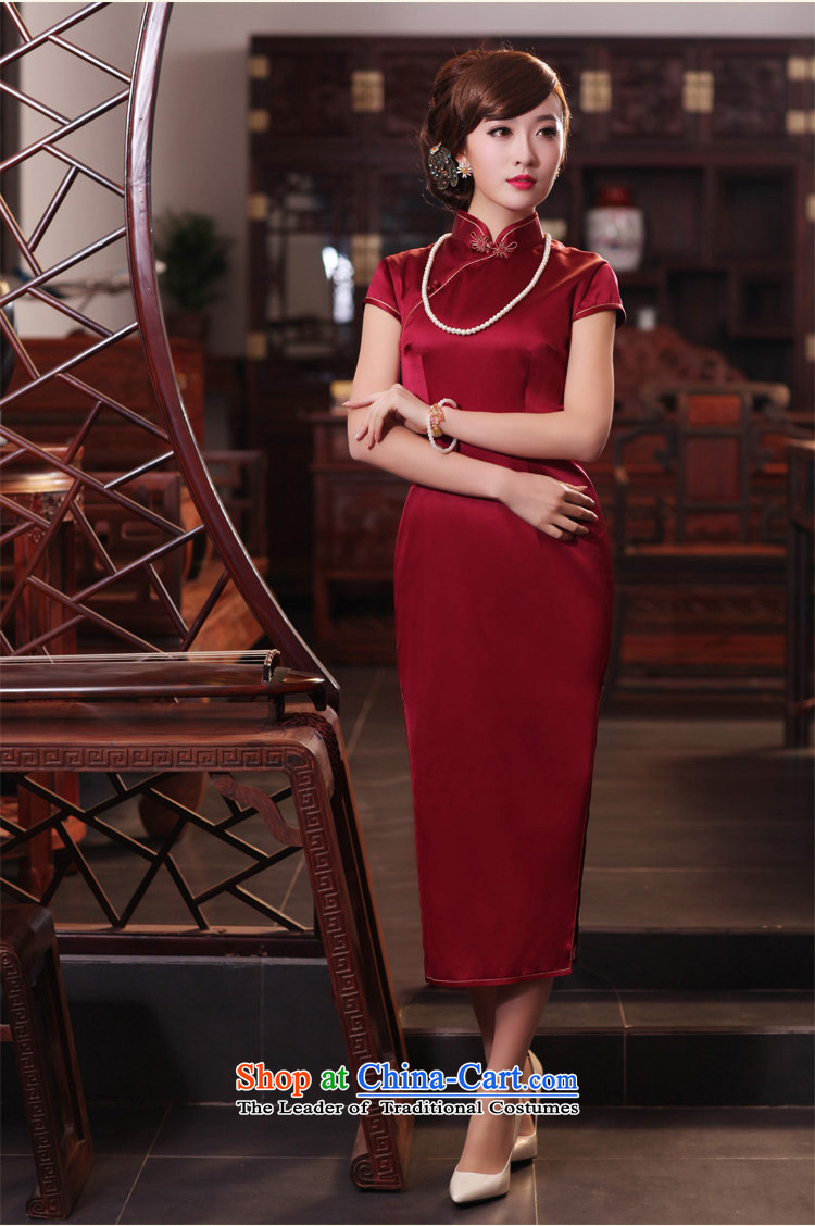 A love of birds have Xuan聽Spring 2015 new short-sleeved long Silk Cheongsam QD440 dark red聽L picture, prices, brand platters! The elections are supplied in the national character of distribution, so action, buy now enjoy more preferential! As soon as possible.