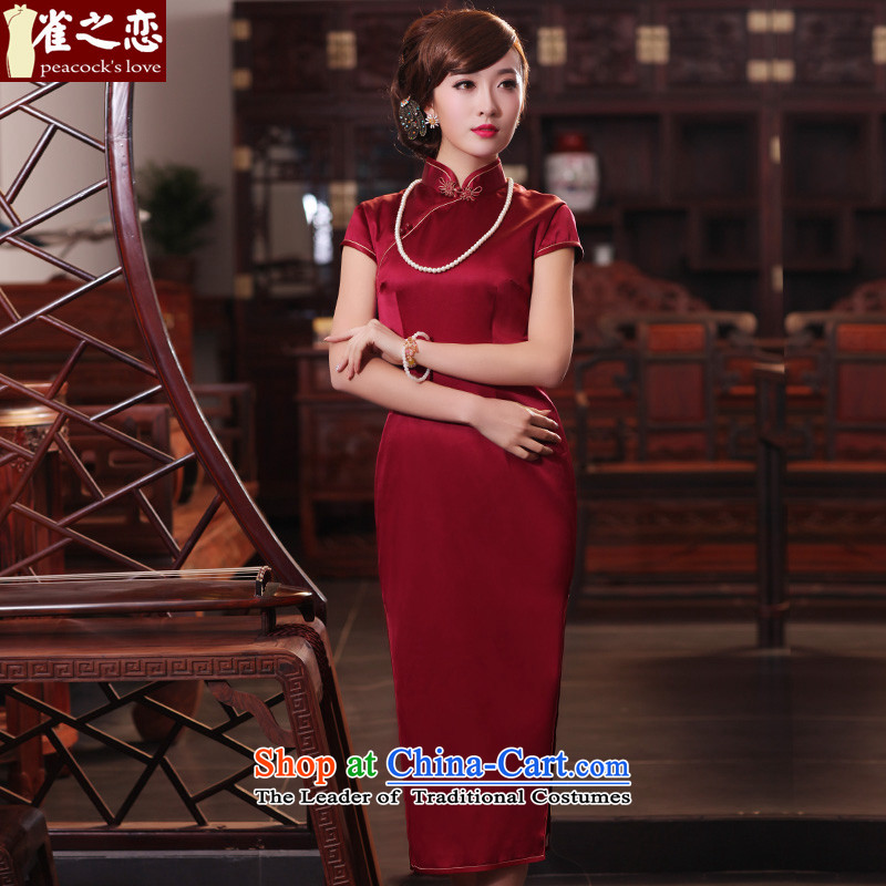 A love of birds have Xuan燬pring 2015 new short-sleeved long Silk Cheongsam QD440 dark red燣