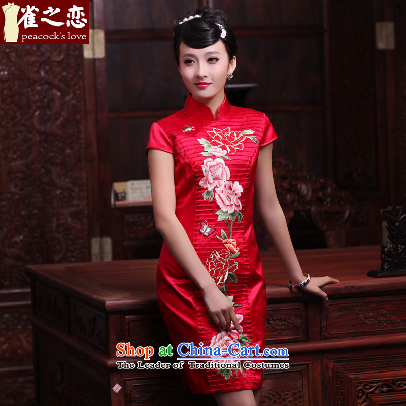 Love of birds Yuanyang Note?2015 Spring New short, manually push the embroidered heavyweight Silk Cheongsam QD442 chinese red?L