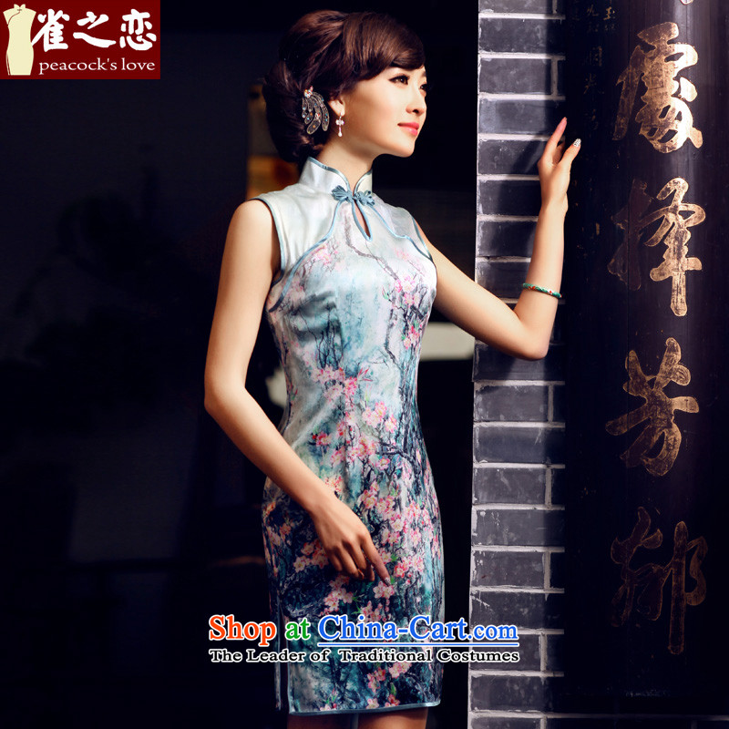 Love birds爏pring 2015, the spread of national new improved stylish sleeveless Silk Cheongsam QD438 figure - pre-sale 7 days燣