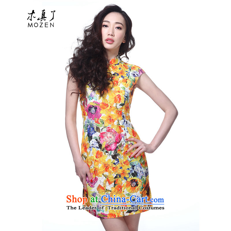 The cheongsam dress wood really 2015 new summer of Chinese contemporary lace short of qipao dresses summer 42,722 12 Dark Yellow燤