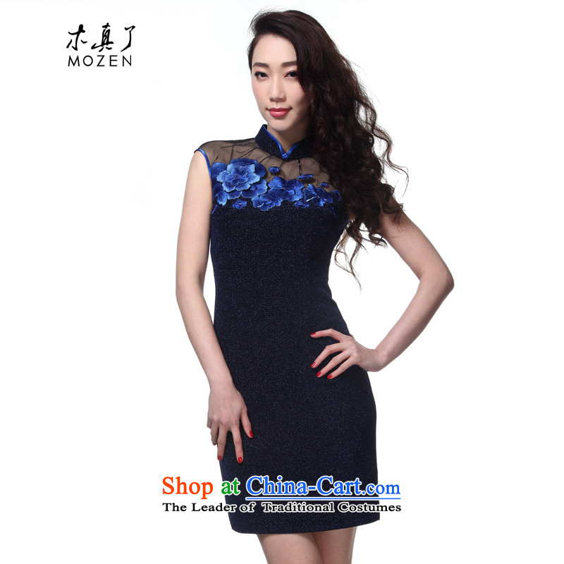 The Tang Dynasty outfits wood really 2015 Summer new women's elegant Chinese qipao gown knitted embroidered dress recommendation for 10?m deep blue