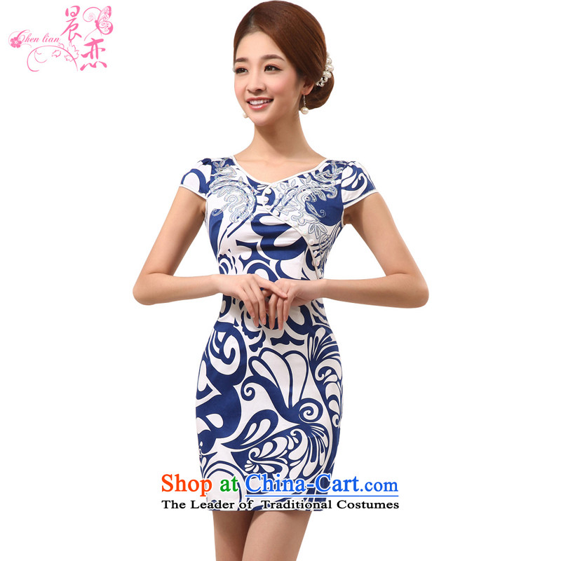 Land 2015 summer morning new Stylish retro short of improved cheongsam dress Chinese daily porcelain GP262 BLUE燲XL