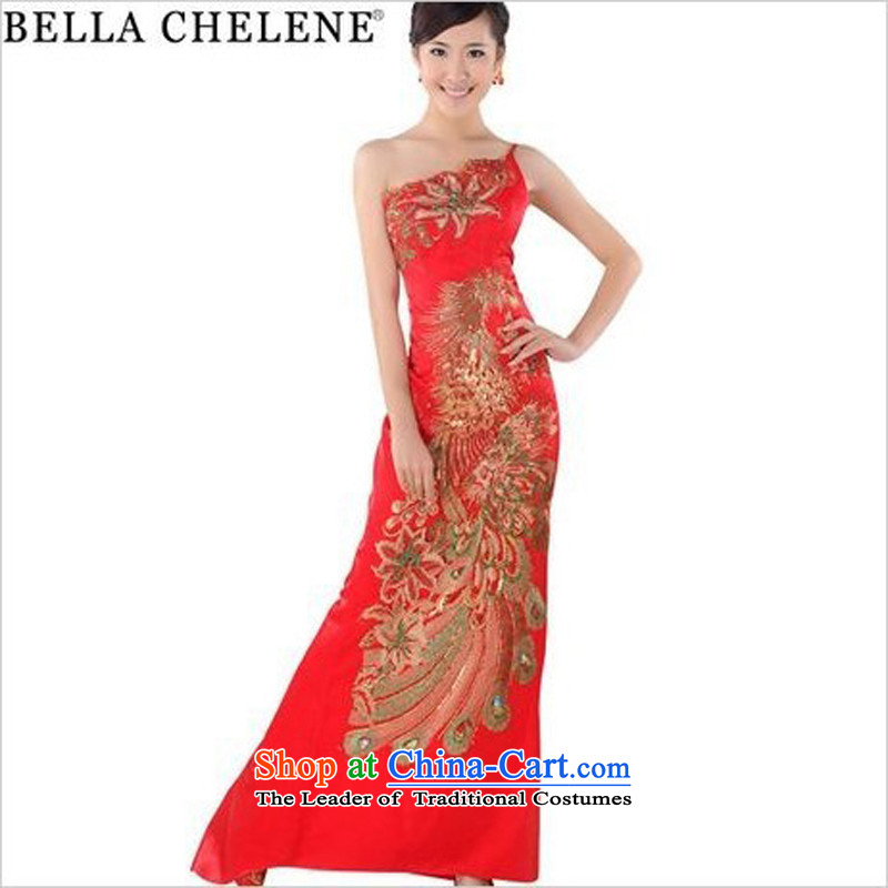 Land 2014 New Morning Summer Stylish retro long qipao improved red marriages embroidery cheongsam dress GP0253 green tail_�5_S