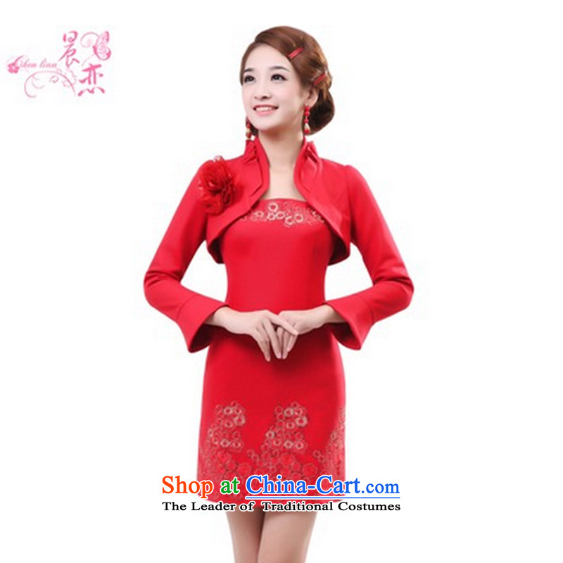 Morning qipao winter married love cheongsam long-sleeved sweater,Stylish retro rocketed to improved qipao qipao GP334701 bride�5_S red