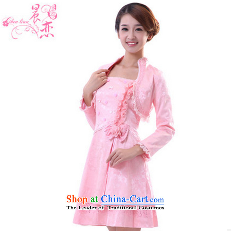 Morning land promotions in spring and autumn 2014 bride marriage improved cheongsam dress with a couplet bows Chinese long-sleeved GP03290 Pink Pink燣
