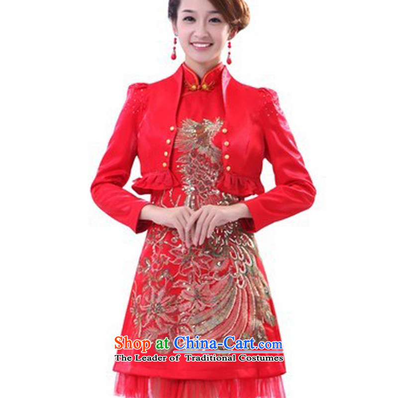 Special offers the new 2014 E-mail package short of marriage retro cheongsam long-sleeved warm winter clothing red dress bride bows AGP0331 RED燣