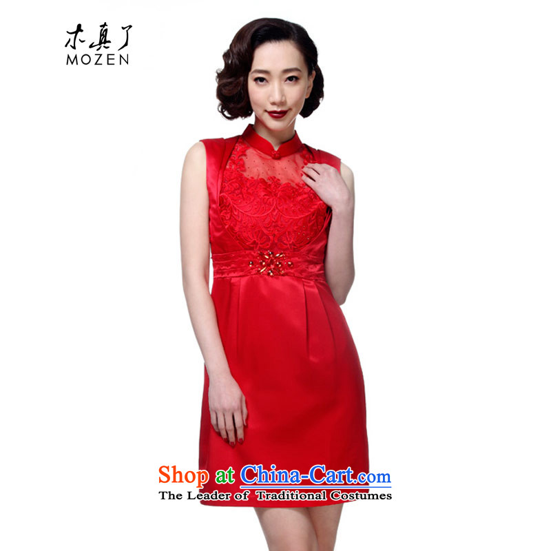 Wooden spring and summer of 2015 really new fall inside the bride engraving bows services cheongsam dress female skirt package mail duplicates, 42742 04 red?M