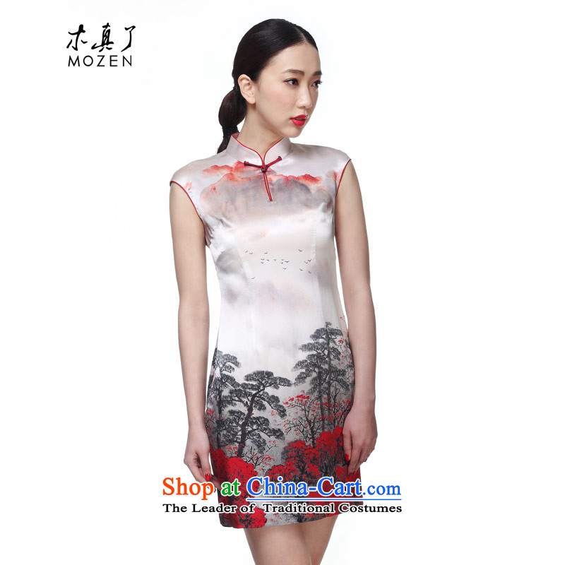 The 2015 summer wood really new and elegant Silk Cheongsam, short of ethnic dress package mail�743 07 Light Gray燬