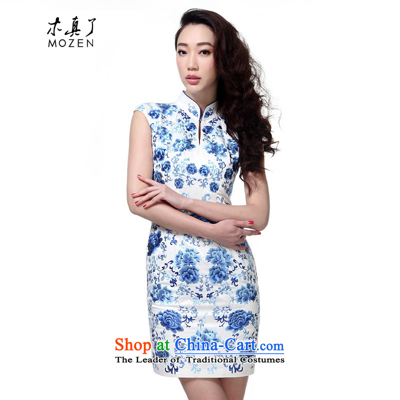 Wooden spring and summer of 2015 really new embroidery improved cheongsam dress women Sau San banquet dress?42755 02 White?L