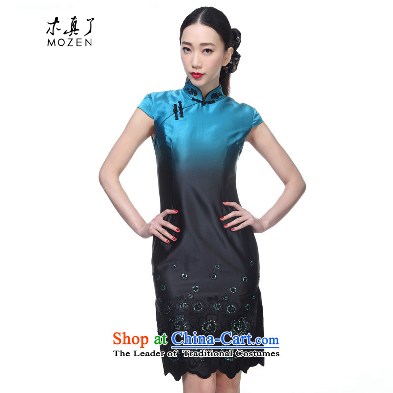 The MOZEN2015 wood really new women's elegant silk embroidery short-sleeved qipao qipao package mail�962 short 11 light blue燲L