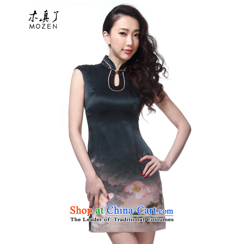 The new 2015 really wood for women elegant Chinese silk national air piping cheongsam dress package mail�457 07 gray bottom goldfish燤