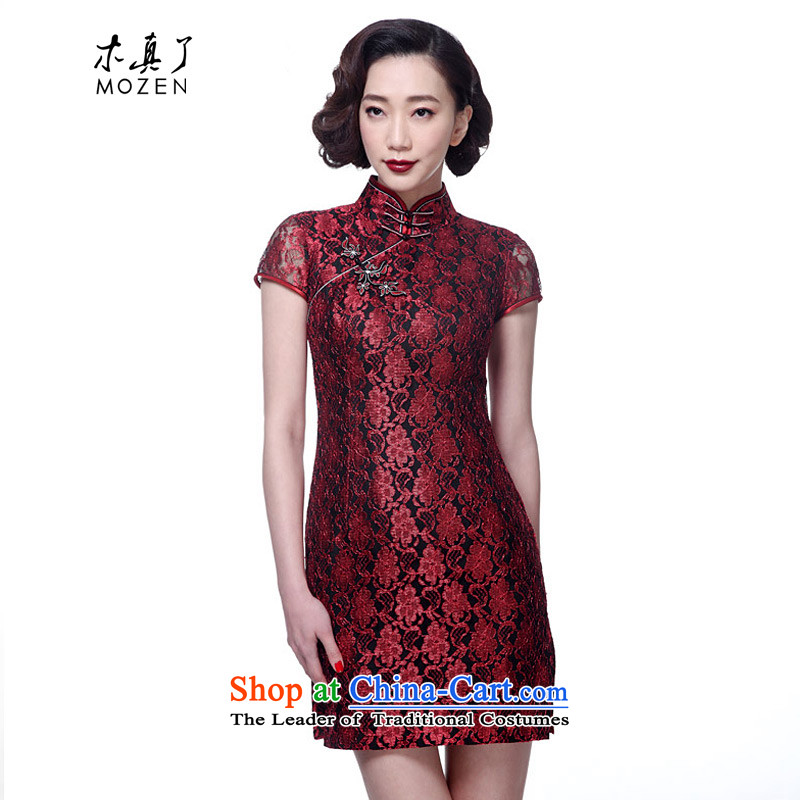 The new 2015 really wood of Chinese contemporary lace short of qipao gown Tang dynasty women dresses package mail 21815 04 dark red聽S