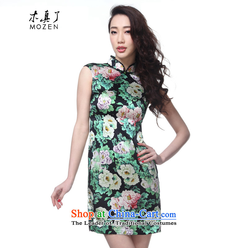The MOZEN2015 wood really spring and summer new stylish Silk Cheongsam Dress Short of stamp Female 32372 email package 01 Black燲L