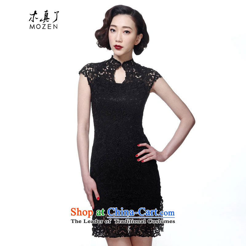 True�15 Chinese wooden high-end female engraving short of qipao gown Sau San�256 Female Skirt 01 Black燤