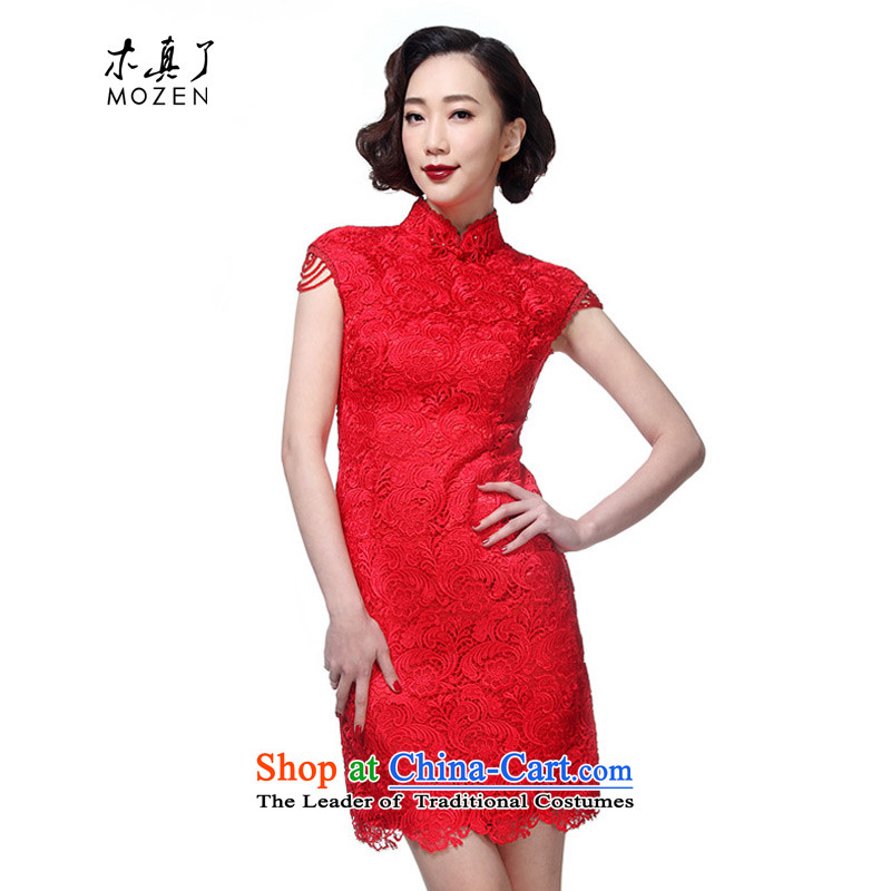 Wooden spring and summer of 2015 really new wedding dress lace bride short qipao?32440 04 deep red?M